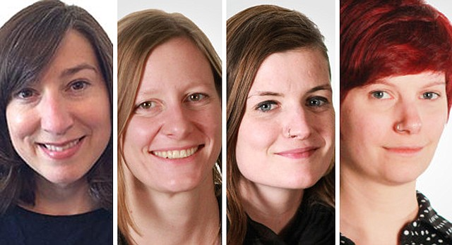 The Lawrence Arts Center announced Monday that four of its staff members have recently garnered prestigious residencies. From left: ceramics artist-in-residence Christy Wittmer; Kyla Strid, the Arts Center's director of adult education and artist residencies; Cate Richards, the Arts Center's exhibitions administrator and front office manager; and Tonja Torgerson, the Arts Center's print studio fellow.