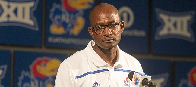 Kansas cross country coach Stanley Redwine talks about his teams during KU fall sports media day Wednesday, Aug. 19, 2015, at Hadl Auditorium.