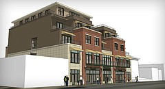 Former City Commissioner Bob Schumm has filed plans to build a five-story building on a pair of vacant lots in the 800 block of Vermont Street.
