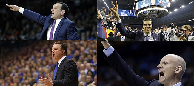 By the time the college basketball season rolls around, these four coaches — clockwise from top left, Duke's Mike Krzyzewski, Villanova's Jay Wright, Xavier's Chris Mack and Kansas' Bill Self — well could have the top four teams in the country.