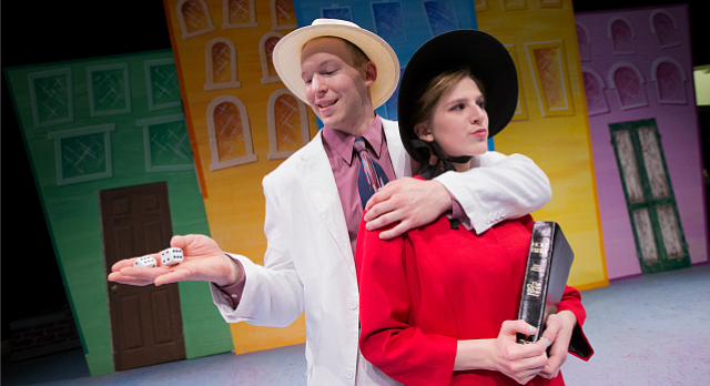 Guys and Dolls cast members Christoph Cording, playing the role of Sky Masterson, and Noelle Olson, playing the part of Sarah Brown, are pictured Thursday, June 2, 2016, at Theatre Lawrence, 4660 Bauer Farm Drive.