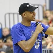 Kansas University forward Landen Lucas addresses campers during Bill Self's basketball camp Monday, June 6, 2016.