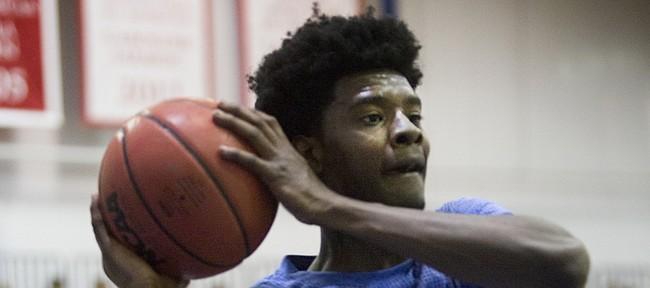 Kansas University newcomer Josh Jackson (11) had all eyes on him as he ran through drills during Bill Self's basketball camp on Tuesday June 7, 2016.