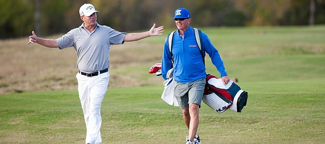 Lawrence resident and former KU All-American Chris Thompson finished 24-under par in the four-day, second-stage qualifying tournament for the Web.com Tour. KU associate athletic director Sean Lester caddied for Thompson on Thursday and Friday. The Q school event took place at TPC Craig Ranch in McKinney, Texas.