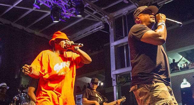 Public Enemy performs during a free concert Saturday evening, June 25, 2016, as part of the Free State Festival.