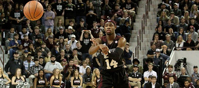 Malik Newman passes the ball during the first half of the Mississippi-Mississippi State game on Jan. 23 in Starkville, Miss. The former McDonald's All-American announced Friday he was transferring to Kansas University after a season at MSU.