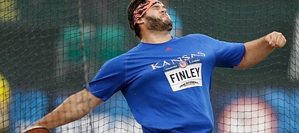 Former Kansas University athlete Mason Finley competes during the men's discus throw final at the U.S. Olympic Track and Field Trials, Friday in Eugene Ore.