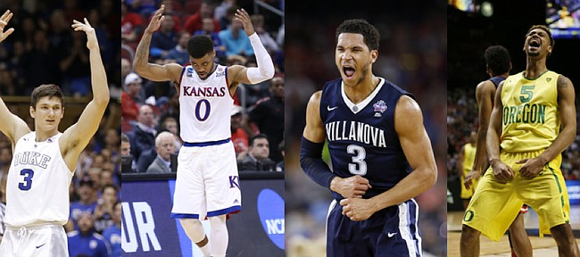 In SI.com's preseason power rankings, Grayson Allen, left, and Duke are No. 1; Frank Mason III, second from left, and Kansas are No. 2; Josh Hart, center, and Villanova are No. 3; Tyler Dorsey, second from right, and Oregon are No. 4; and Isaiah Briscoe and Kentucky are No. 5.