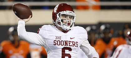 Oklahoma quarterback Baker Mayfield (6) prepares to throw during the Sooners' 58-23 win over Oklahoma State Nov. 30, 2015, in Stillwater, Okla.