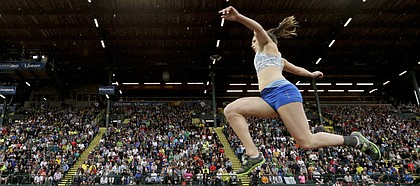 Andrea Geubelle competes during the women's triple jump final at the U.S. Olympic Track and Field Trials, Thursday, July 7, 2016, in Eugene Ore.