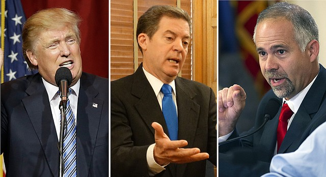 Left to right, Republican presidential nominee Donald Trump, Kansas Gov. Sam Brownback and U.S. Rep. Tim Huelskamp, of Kansas' 1st District, are central figures in findings of a poll released by the Docking Institute of Public Affairs at Fort Hays State University in July 2016.