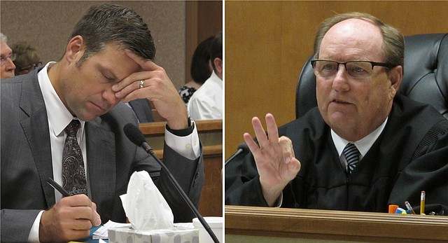 At left, Kansas Secretary of State Kris Kobach listens and takes note as Shawnee County, Kan., District Judge Larry Hendricks declares that the state must count potentially thousands of votes from people who registered without providing documentation of their U.S. citizenship, Friday, July 29, 2016, in Topeka. At right, Hendricks makes a comment during the hearing.