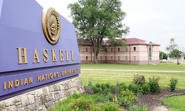 A sign at the entrance to Haskell Indian Nations University is shown Friday, Aug. 5, 2016.