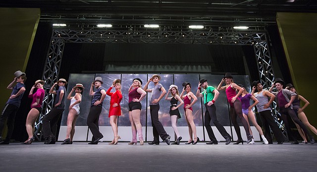 "Cast members line up along the stage during a rehearsal for ""A Chorus Line,"" Wednesday, Sept. 7, 2016 at Theatre Lawrence. The musical opens on Friday, Sept. 16 at 7:30."