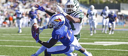 Kansas wide receiver Steven Sims Jr. (11) pulls in a touchdown catch past Ohio cornerback Jalen Fox (21) during the third quarter on Saturday, Sept. 10, 2016 at Memorial Stadium.