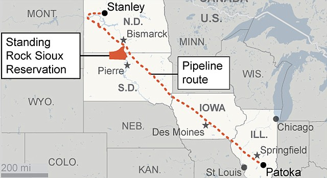 This graphic shows the route of the Dakota Access pipeline from Illinois to North Dakota.