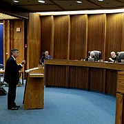 School district attorney Alan Rupe, left, presents his case in a school funding case at the Kansas Supreme Court Wednesday, Sept. 21, 2016, in Topeka, Kan. (AP Photo/Charlie Riedel)