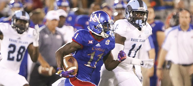 Kansas wide receiver Steven Sims Jr. tears up the field for a touchdown during the third quarter on Saturday, Sept. 3, 2016 at Memorial Stadium.