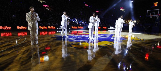 Members of the Kansas men's basketball team dance during Late Night in the Phog, Friday, Oct. 9, 2015 at Allen Fieldhouse.