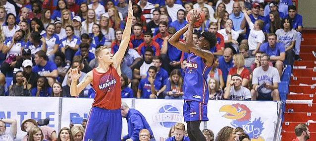Kansas guard LaGerald Vick pulls up for a shot against forward Evan Maxwell during Late Night in the Phog on Saturday, Oct. 1, 2016 at Allen Fieldhouse.