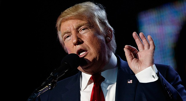Republican presidential candidate Donald Trump speaks to the Republican Hindu Coalition, Saturday, Oct. 15, 2016, in Edison, N.J. (AP Photo/ Evan Vucci)