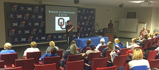 Kansas men's basketball coach Bill Self conducts as Scouting seminar with a group of women at Wednesday's 7th annual Ladies Night Out event at KU.