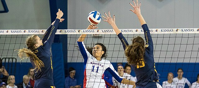 Kansas junior Setter Ainise Havili drops the ball over the net against West Virginia on Thursday, Oct. 20, 2016 in the Horejsi Center.