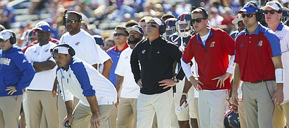 Kansas head coach David Beaty shows his frustration after an Oklahoma State field goal during the third quarter on Saturday, Oct. 22, 2016 at Memorial Stadium.