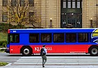 A bus passes in front of Strong Hall Nov. 16, 2015, on the University of Kansas campus.