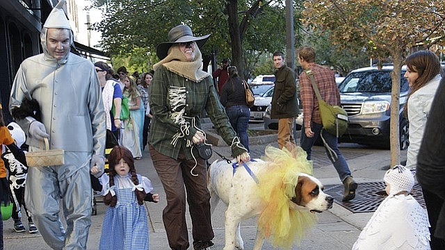 Kyle and Rachel Buerman's dog Henry, as the Cowardly Lion, takes an interest in a little fairy princess, as the Buermans, of Lawrence, search for the Wizard of Oz with their daughter Lillian, 2, during the annual Halloween Trick-or-Treating in Downtown Lawrence on Saturday, Oct. 31, 2015.