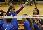 The Kansas volleyball team celebrates scoring against Texas during a match at Gregory Gym in Austin, Saturday, Sept. 24, 2016.