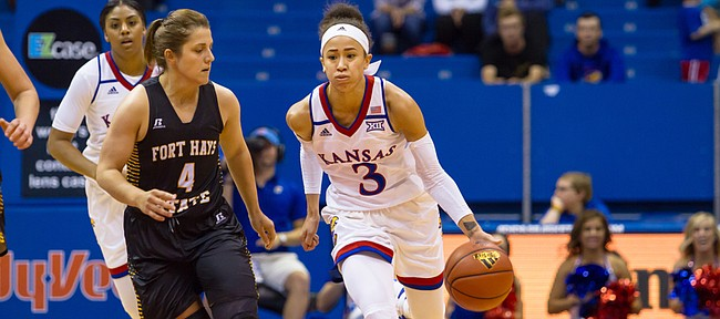 Kansas guard Jessica Washington (3) brings the ball up the court during an exhibition game against Fort Hays State on Sunday in Allen Fieldhouse.
