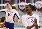 Kansas middle blocker Tayler Soucie (10) and Kansas right side hitter Kelsie Payne (8) celebrate a point during the fifth set on Saturday, Oct. 29, 2016 at the Horejsi Center.