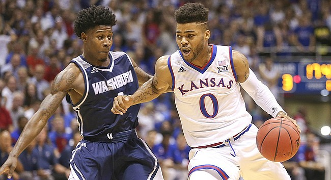 Kansas guard Frank Mason III (0) drives against Washburn guard Randall Smith (3) during the first half, Tuesday, Nov. 1, 2016 at Allen Fieldhouse.
