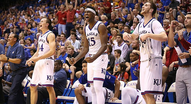 The Kansas bench celebrates a bucket by Tyler Self during the second half, Tuesday, Nov. 1, 2016 at Allen Fieldhouse.