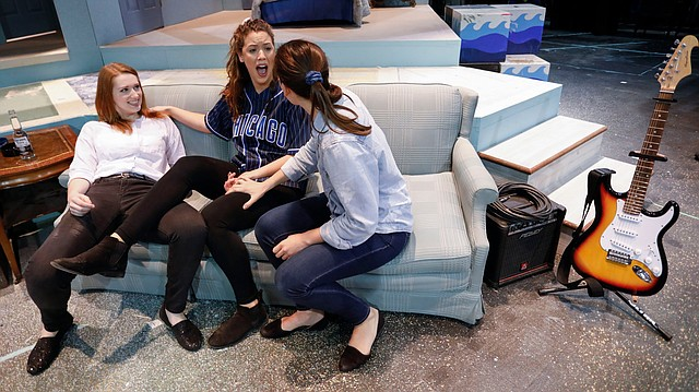 University of Kansas students and actors, from left, Kendra J. Hacker, as Jenny, Kristen A. Larsen, as No-No, and Victoria Kilkenny, as Ash rehearse on Stage Too! in Murphy Hall, Thursday, Nov. 3, 2016.