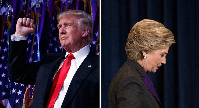 At left: President-elect Donald Trump pumps his fist during an election night rally, early Wednesday, Nov. 9, 2016, in New York. At right: Democratic presidential candidate Hillary Clinton walks off a stage Wednesday after speaking in New York.