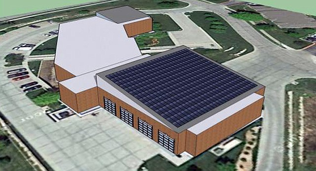 A computer rendering shows solar panels on the roof of Fire Station No. 5, 1911 Stewart Ave. About $11.4 million of sustainability projects have been added to the city's capital improvement plan for 2017.