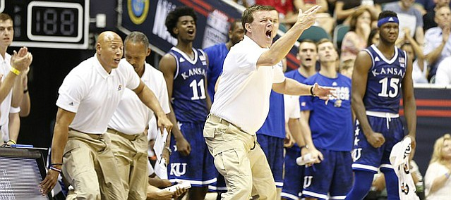 Kansas head coach Bill Self yells at his team to get back on defense during the first half of the Armed Forces Classic at Stan Sheriff Center, on Friday, Nov. 11, 2016 in Honolulu, Hawaii.