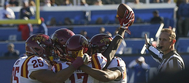 Iowa State cornerback Jomal Wiltz (17) celebrates with teammates after a late interception to seal the Cyclones 31-24 win over KU Saturday, Nov. 12 at Memorial Stadium.