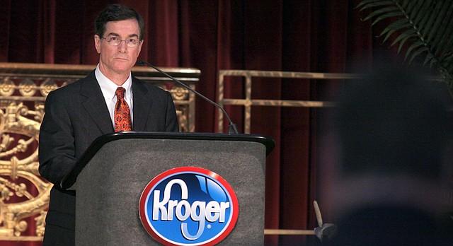 David B. Dillon, Kroger chairman and chief executive officer, listens to a shareholder speak at the Kroger shareholders meeting in Cincinnati Thursday June 25, 2009. (AP Photo/Tom Uhlman)
