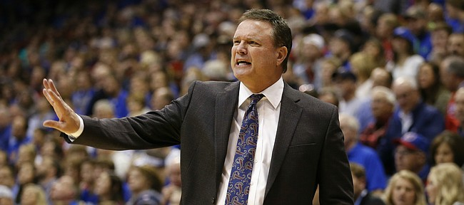 Kansas head coach Bill Self gets the attention of his players during the second half, Friday, Nov. 18, 2016 at Allen Fieldhouse. With Friday's win, Self became the winningest coach in Allen Fieldhouse.