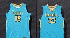 Haskell men's and women's basketball teams will wear these Nike N7 uniforms on Nov. 28, 2016 to honor Native American Heritage Month.