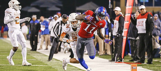 Kansas wide receiver Steven Sims Jr. (11) gets near  the end zone after a catch late in the fourth quarter on Saturday, Nov. 19, 2016 at Memorial Stadium.
