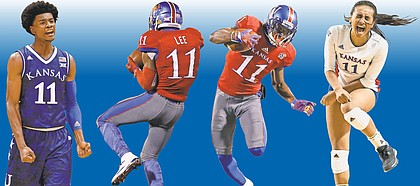 Even limiting it to the accomplishments of athletes wearing an identical number, it was an action-packed weekend for local sports fans. Since we're in the 11th month, we'll pick No. 11. Shown left to right in games from the past weekend are KU men's basketball freshman Josh Jackson, football's freshman safety Mike Lee and sophomore Steven Sims Jr., and volleyball's junior setter Ainise Havili.