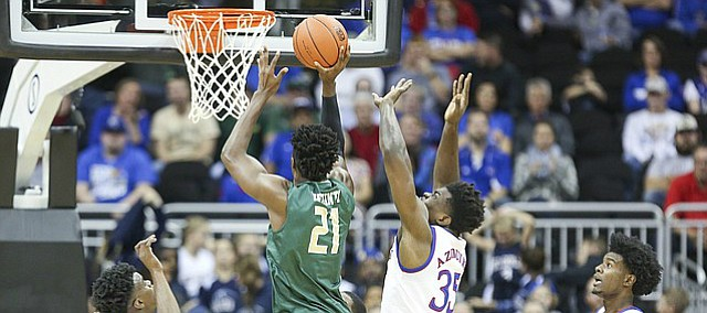 Kansas center Udoka Azubuike (35) gets up to block a shot from UAB forward Tosin Mehinti (21) during the first half of the CBE Classic on Monday, Nov. 21, 2016 at Sprint Center.