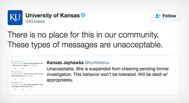 Tweets from the official University of Kansas and KU Athletics Twitter accounts are shown from Nov. 21, 2016. A KU cheerleader has been suspended from cheering after a photo was posted on her Snapchat account linking the Ku Klux Klan with President-elect Donald Trump.