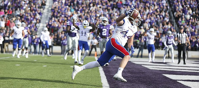 Kansas fullback Michael Zunica (44) runs in a touchdown after a catch during the fourth quarter, Saturday, Nov. 26, 2016 at Bill Snyder Family Stadium.