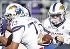 Kansas quarterback Carter Stanley (9) takes off on a run during the first quarter, Saturday, Nov. 26, 2016 at Bill Snyder Family Stadium.
