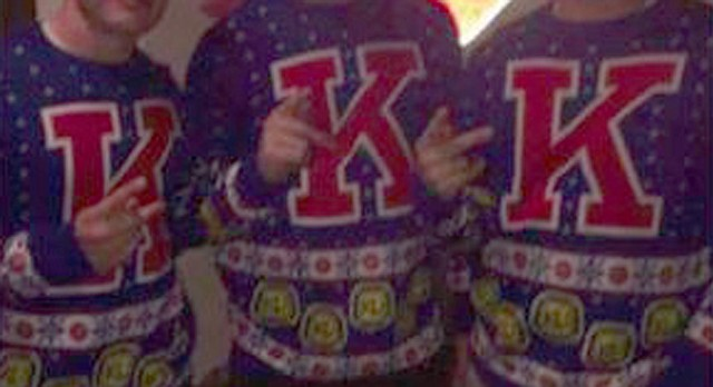 This screenshot shows a message sent out on the Snapchat account of a University of Kansas cheerleader. KU officials have suspended that cheerleader, a female student, as well as the three men in the photo, who are also cheerleaders. This screenshot has been brightened to show additional detail.